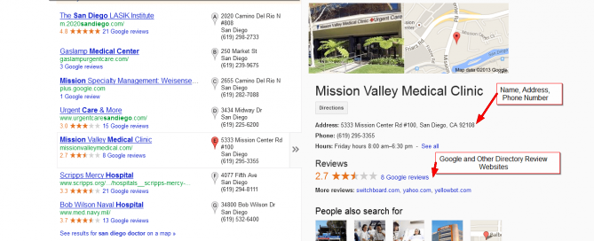 "Google Local Search results for ""san diego doctor"""