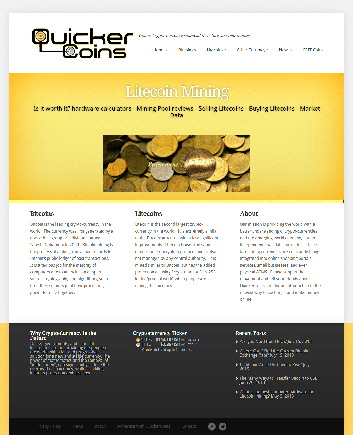 Quickercoins.com website