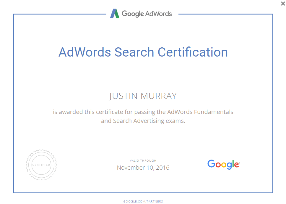 kickin knowledge adwords search certification